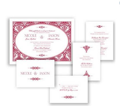 Joyful Damask Wedding Invitation in Apple by David's Bridal #davidsbridal #weddinginvitation #redwedding