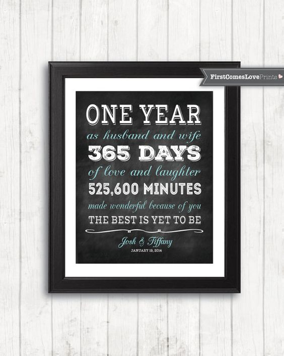 20th Wedding Anniversary Gift Ideas For Wife: Chalkboard Style First Anniversary Gift For Husband For