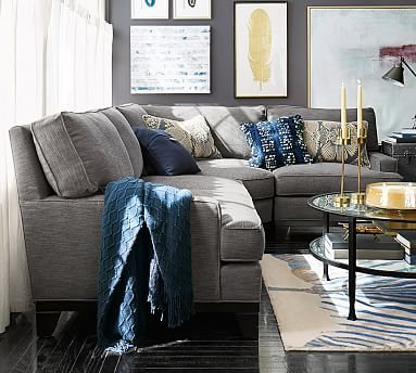 """Seabury 3-Piece Sectional with Wedge #potterybarn $4845  111"""" W by 83"""" D by 41"""" D by 37"""" H"""