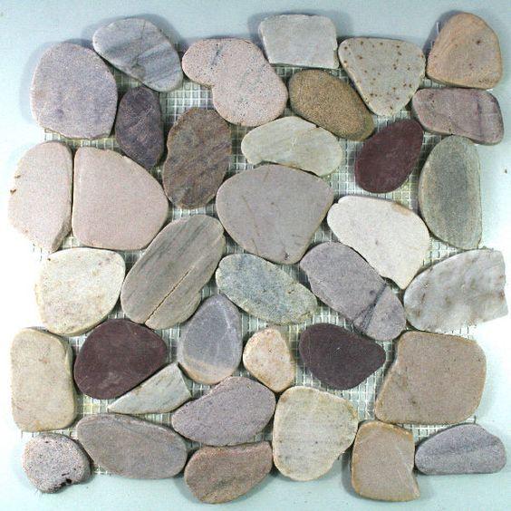 Pebble Stone Mosaic Tiles Color Mix Sawn - 1 Sheet