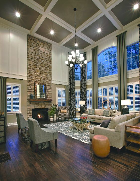 Stunning two story family room at the elkton south shore model home at estates at cohasset - Family room design ideas ...