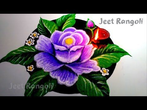 Beautiful Rose Flower Rangoli Step By Step With Voice Demonstration Youtube Flower Rangoli New Rangoli Designs Colorful Rangoli Designs