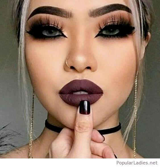 Black Eye Makeup And Brown Lips Black Eye Makeup Nose Makeup