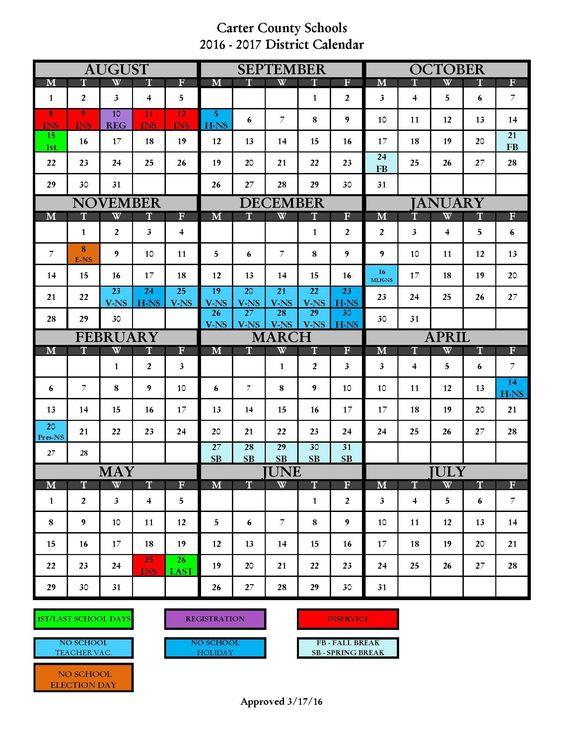 2016-2017 District Calendar - Carter County Schools Carter - school calendar