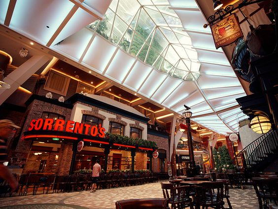 Shopping, dining, parades and more. Royal Promenade, Allure of the Seas.