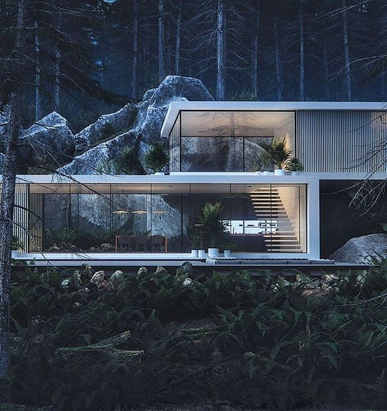 Would you feel safe living in a forest such as here? Tag who you'd bring along 🎃👥 - HOUSE IN THE PINEWOOD Designed by Roman Kupriyan 📐…
