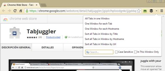 TabJuggler, opciones para ordenar pestañas en Chrome | Bitelia