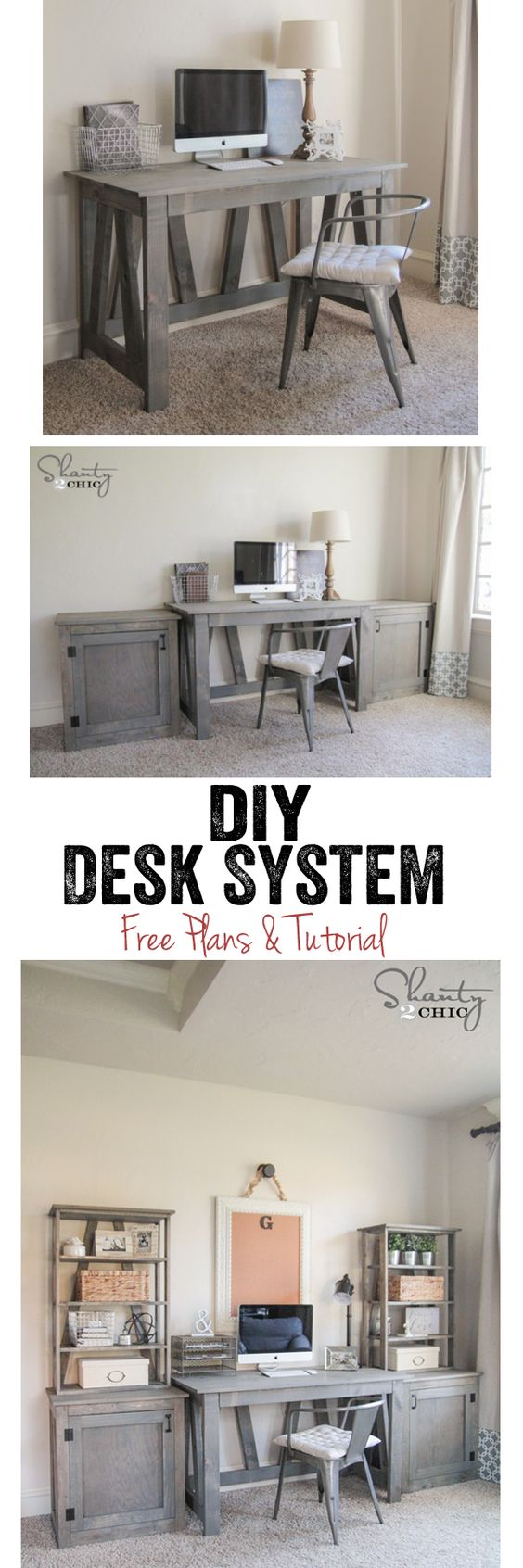 LOVE this DIY Desk System! Completely customizable too! Free woodworking plans and tutorial at www.shanty-2-chic.com: