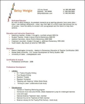 Kindergarten First Grade Teacher Resume Example (Blue Hills - sample elementary teacher resume