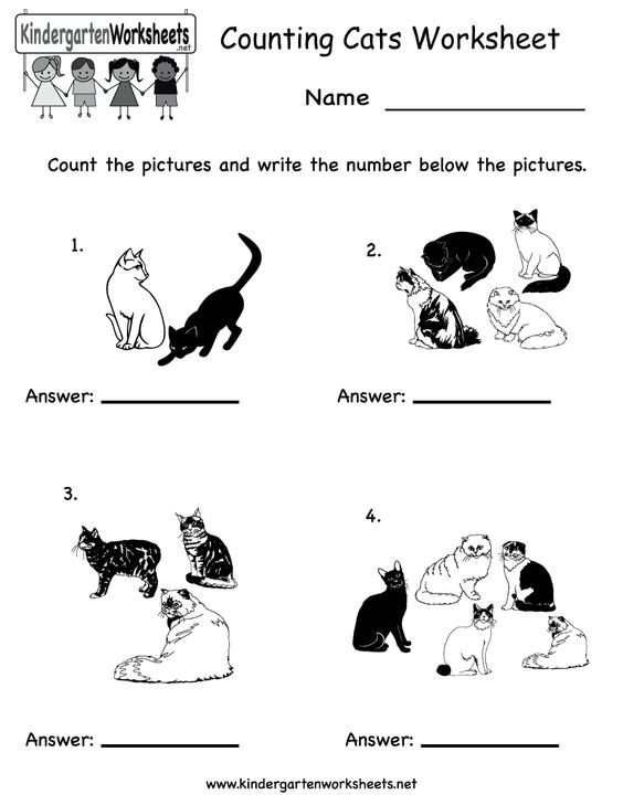 math worksheet : kindergarten counting cats worksheet printable  math worksheets  : Free Kindergarten Worksheets Online