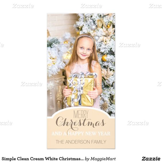 Simple Clean Cream White Christmas Holiday Photo Photo Card