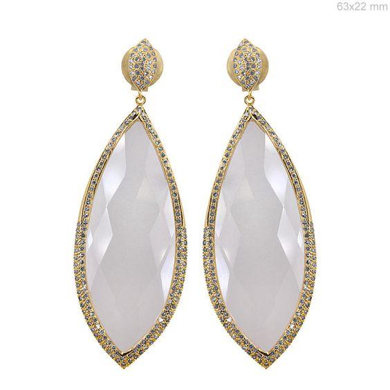 Clear Quartz Gemstone Solid 18k Yellow Gold Dangle Earrings Diamond Pave Jewelry #Handmade #DropDangle
