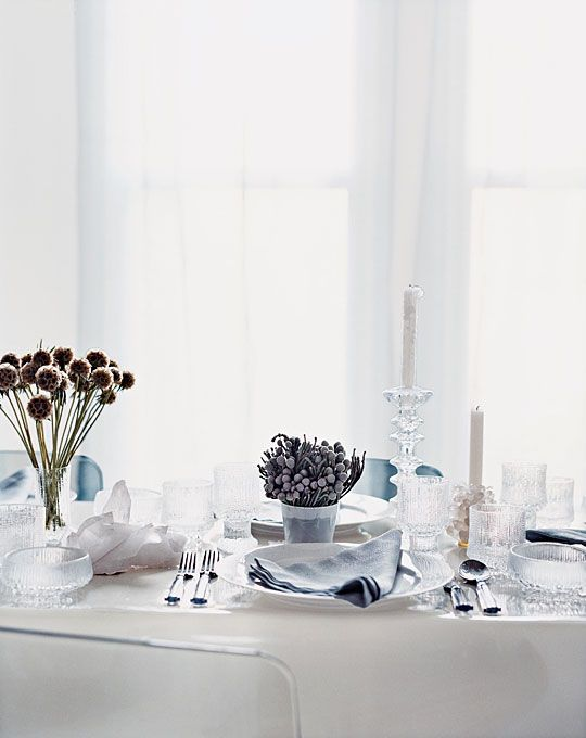 Frosted table setting