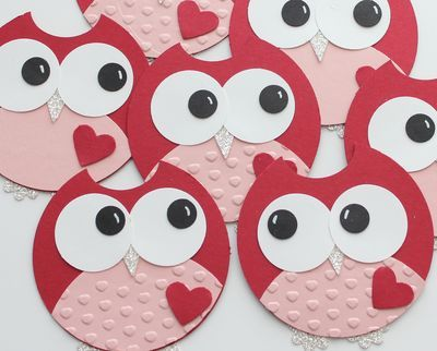 Owl from circle.: Card Idea, Valentine Card, Circle Owl, Circle Punch, Cards Valentine, Paper Owl, Valentine Owl, Art Owl, Owl Valentine