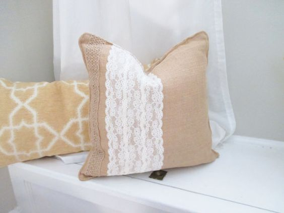Burlap Pillow Burlap and Lace Decorative Pillow by coralglass