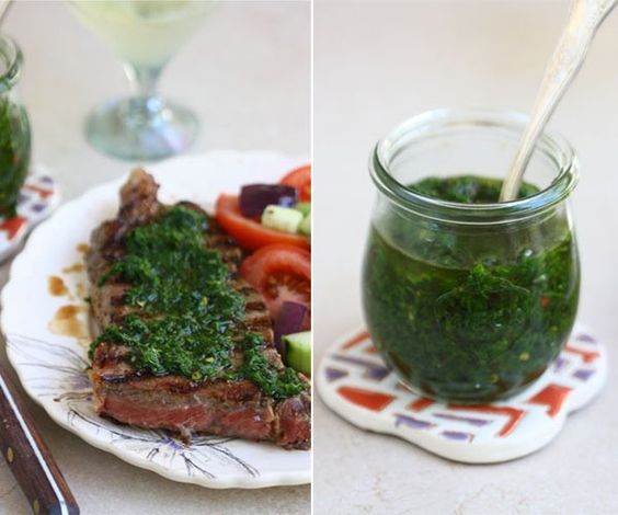 chimichurri (Argentinian dip) this sauce is spicy and garlicky and really fresh tasting; the red wine vinegar definitely gives it that brightness, but if you have lemon juice around, you can use that instead; add in salads, smother it on chicken, spread it on a slice of bread with some butter