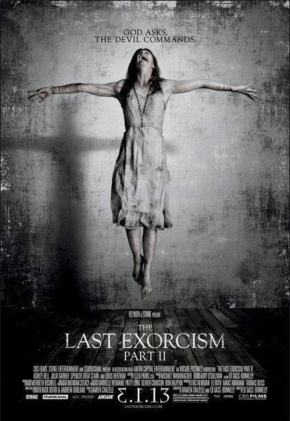 I like this horror poster because it uses a dull black and grey background to show its vintage. It uses levitation effects that make it look real and catches the audience attention. And also it has a dark shadow reflecting the character on the wall which I think is a good idea for showing darkness and fear.