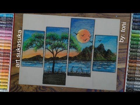 Gambar Pemandangan Alam Yang Indah Cara Menggambar Menggunakan Crayon Youtube Pemandangan Cara Menggambar Gambar