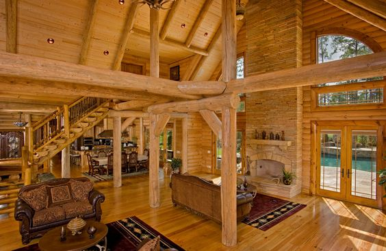 Stains logs and log home interiors on pinterest for Lifeline interieur