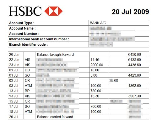 Bank statements from the last 3 months showing you have the funds - sample bank statement
