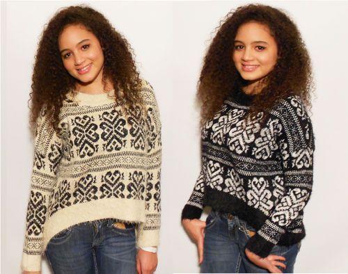 New Womens Mohair Fur soft Fairisle Jumper Sweater Aztec Tribal Pattern Retro