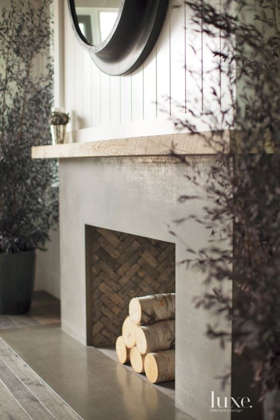 Wood fireplace fireplaces and mantels on pinterest for Contemporary wood fireplace