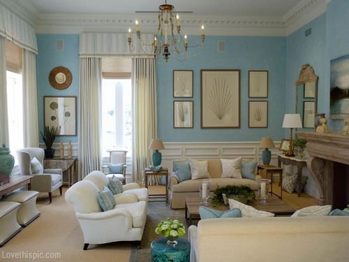 country interior design - nglish ountry Living oom blue home white country style decorate ...