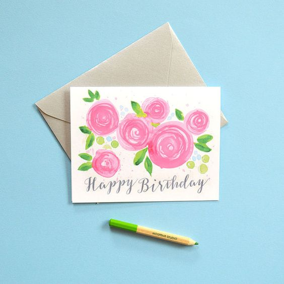 Pretty Birthday Card Happy Birthday Card Birthday by MospensStudio