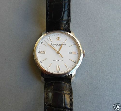Baume & Mercier 8592 Armbanduhr Herrren Automatik Saphirglas Lederarmband