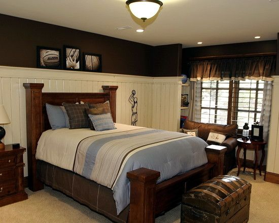 Wainscoting white walls and dark furniture on pinterest Images of wainscoting in bedrooms