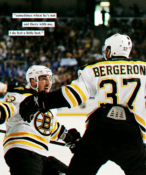 sometimes when he's not out there with me, i do feel a little lost - brad marchand (of patrice bergeron)