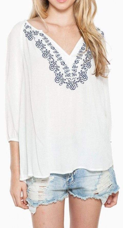 Perfect Day Blouse in White - would love to pair with navy shorts.