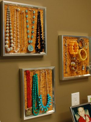 DIY cork board in frame jewelry holder..spray paint the cork to go with the theme of your space