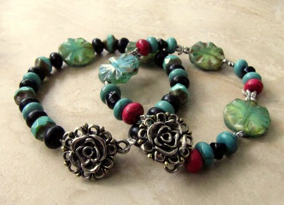 Beaded Bracelets  Set of 2 Colorful Autumn by peacefrogdesigns, $25.00