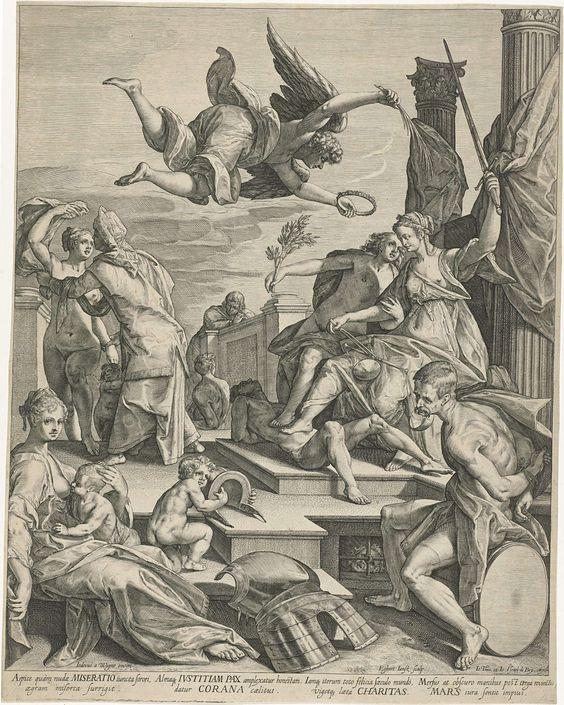Egbert Jansz. | Allegorie met Justitia, Pax en Charitas, Egbert Jansz., Johann Theodor en Johann Israel de Bry, 1588 - 1608 | De Gerechtigheid (Justitia) en de Vrede (Pax), zitten op een troon met hun voeten rustend op een liggende, naakte man. Boven hen de Overwinning (Victoria) die hen wil bekronen. Op de voorgrond rechts Mars, zittend met zijn armen op zijn rug gebonden. Links op de voorgrond de Liefdadigheid (Charitas), een kind zogend. Naast haar een kind, spelend met een helm. Op de…