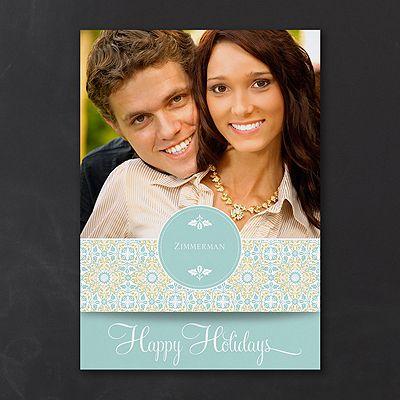 Happy Holidays - Photo Holiday Card - Aqua