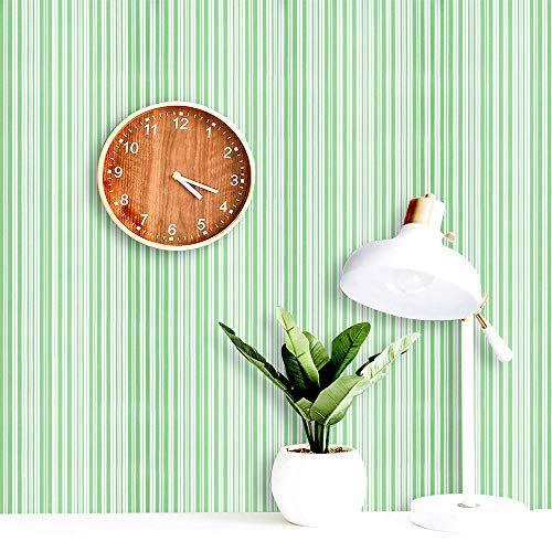 Guvana Stripe Green And White Peel And Stick Wallpaper Line Contact Paper 17 7 X118 Self Adhesi Diy Wallpaper Peel And Stick Wallpaper Self Adhesive Wallpaper