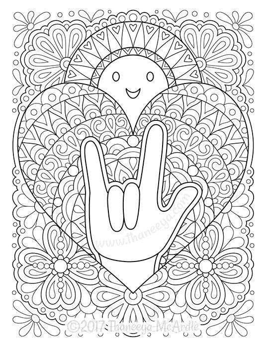 I Love You In American Sign Language Coloring Page Sign Language Colors Coloring Books Coloring Pages