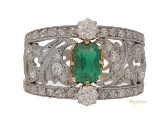 front view Belle Epoque emerald and diamond ring, circa 1905.