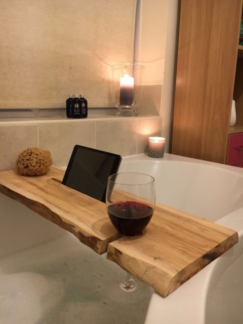 Bath Caddy Tray Luxury Elm Wood Bath Caddy Bath Bathroom