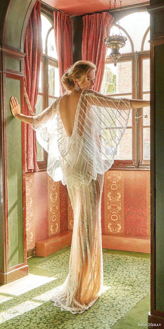solo merav wedding dresses 2016 glamorous beaded sheath bridal gown art deco weddings izabella sheer illusion bead cape
