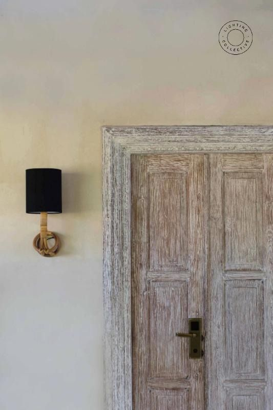 Organic Cane Wall Sconce With Linen Shade Linen Shades Wall Sconces Organic Decor