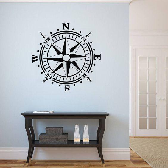 Wall Vinyl Sticker Decal Compass Rose Nautical Navigate Ship Kids Dorm (r684) in Decals, Stickers & Vinyl Art | eBay