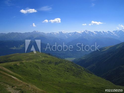 Mountain Landscape Of Svaneti On Bright Summer Sunny Day Mountain Lake Hills Covered Green Grass On Snow In 2020 Mountain Lake Mountain Landscape Mountain Background