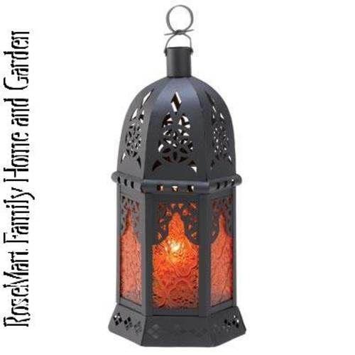 Moroccan Mystic Deep Amber Candleholder Lantern--$18.99