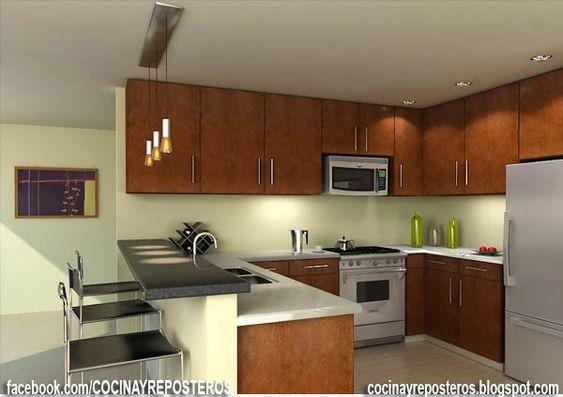 Cocinas con barra cocina y reposteros decoraci n fotos - Cocinas con barra ...