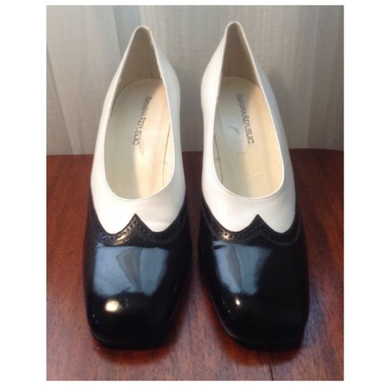 Banana Republic Juliet Shoe Banana Republic Juliet Pump. Very classy shoe made by  Banana Republic. Black and white leather upper with wing tip design and paten leather tip. Exterior is in excellent condition, but some signs of wear on the inside as shown in the last pic. Banana Republic Shoes