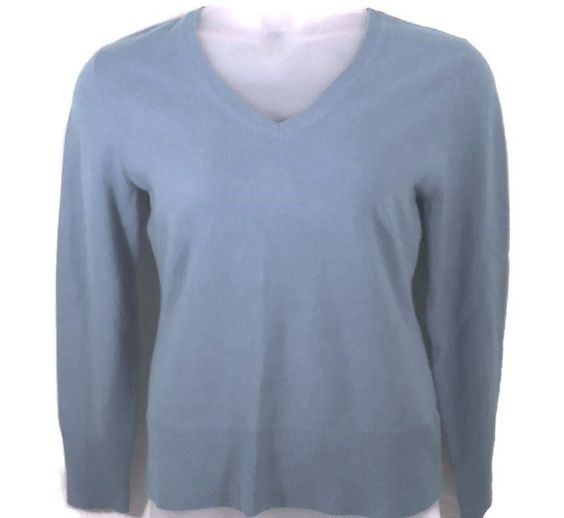 Ann Taylor Petite L Cashmere Sweater V Neck Blue Long Sleeve | V ...