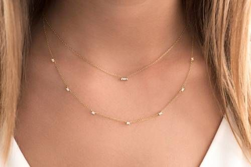 Dainty Diamond Necklace Valentine Gift For Her Minimalist Diamond Necklace 18k 14k Gold Minimal Necklace Baguette Diamond Necklace