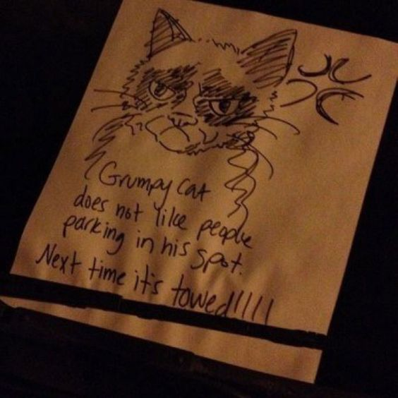 GRUMPY CAT bad parking note - 10 of the Most Hilarious Parking Notes Ever Left! spon #lol #badparking